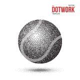 Boll för Dotwork tennissport som göras i rastrerad stil Arkivbild