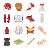 Boll, hjälm, slagträ, likformig och andra baseballattribut Utformar fastställda samlingssymboler för baseball i tecknad film vekt vektor illustrationer