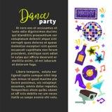 Boll och champagne för disko för affisch för nattklubb för dansparti royaltyfri illustrationer