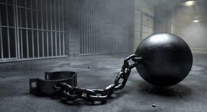 Boll och kedja i fängelse royaltyfri foto