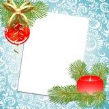 Boll och stearinljus. Jul. royaltyfri illustrationer
