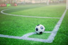 Boll på hörn av fotbollfältet Arkivfoto