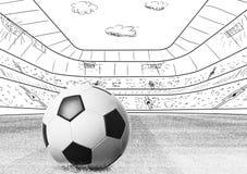 Boll på stadion Arkivbild
