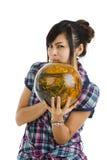boll som bowlar den nätt kvinnan Arkivfoton