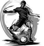 boll som stöd vektorn för spelaresilhouettefotboll Arkivfoto