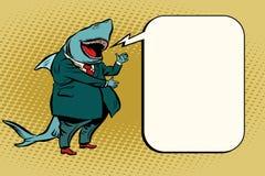 Bolla comica dello squalo di affari illustrazione vettoriale