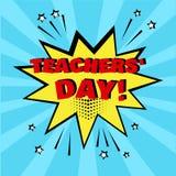 Bolla comica gialla con la parola del giorno degli insegnanti del mondo su fondo blu Effetti sonori comici nello stile di Pop art illustrazione di stock