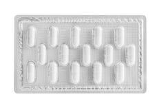 Bolla del di alluminio per la capsula della medicina isolata sul BAC bianco Fotografia Stock