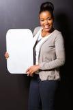 Bolla del testo della donna di colore Fotografie Stock Libere da Diritti