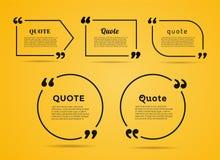 Bolla del testo di citazione Virgole, nota, messaggio e Immagine Stock Libera da Diritti