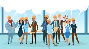 Bolla di comunicazione di chiacchierata di Team Architect Mix Race Workers del costruttore che parla discutendo rete sociale royalty illustrazione gratis