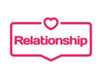 Bolla di dialogo del modello di relazione nello stile piano su fondo bianco Con l'icona del cuore per la varia parola del diagram illustrazione di stock