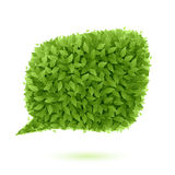 Bolla di discorso dei fogli verdi illustrazione di stock