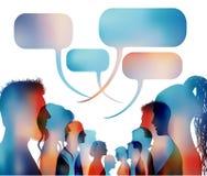 Bolla di discorso Gruppo di conversazione colorata isolata della gente I fronti profilano il profilo capo Comunicazione della ret illustrazione vettoriale