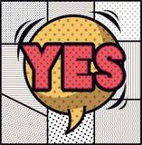 Bolla di espressione con stile di Pop art di sì illustrazione di stock