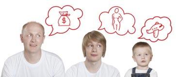Bolla di pensiero, tre persone Immagine Stock Libera da Diritti