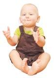 Bolla di sapone di cattura del ragazzino isolata su bianco Fotografie Stock Libere da Diritti