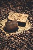 Bolla organica del sapone del caffè sui chicchi di caffè Immagini Stock