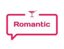 Bolla romantica di dialogo del modello nello stile piano su fondo bianco Con l'icona del bicchiere di vino per la varia parola de Immagini Stock Libere da Diritti