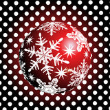 Bolla rossa con il Natale fondo ed il vettore della cartolina d'auguri Royalty Illustrazione gratis