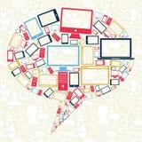 Bolla sociale di discorso delle icone dei dispositivi delle reti Fotografie Stock Libere da Diritti