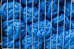 Bollar av blått handarbetegarn i raster för vit metall Royaltyfria Foton
