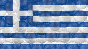 bollar för fotboll 4K faller ner på en vit och bildar en Grekland flagga stock illustrationer