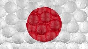 bollar för fotboll 4K faller ner på en vit och bildar en Japan flagga stock illustrationer