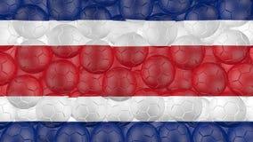 bollar för fotboll 4K faller ner på en vit och bildar en rican flagga för costa stock illustrationer