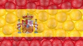 bollar för fotboll 4K faller ner på en vit och bildar en Spanien flagga stock illustrationer