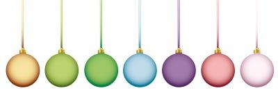Bollar för jul för Matt regnbåge pastell färgade royaltyfri illustrationer