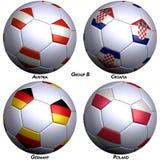 bollar flags fotboll fyra Arkivfoto