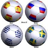 bollar flags fotboll fyra Arkivbild