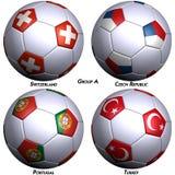 bollar flags fotboll fyra Arkivfoton