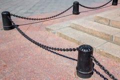 The bollard cast-iron black. Royalty Free Stock Photos