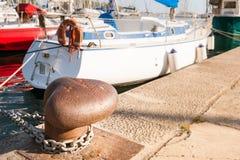 Bollard on the dock of a port Stock Photos