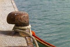 Bollard on the dock Stock Image