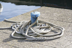 bollard with marine rope Royalty Free Stock Images
