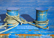 Bollard and mooring rope for mooring of yachts and boats Stock Photo