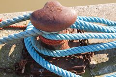 Bollard and mooring rope for mooring yachts and boats. 