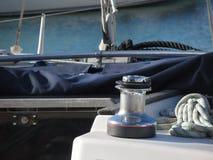 Bollard and mooring ropes on sailing boat bow Royalty Free Stock Photo