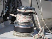 Bollard and mooring ropes on sailing boat bow Stock Image