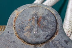 Bollard number one. Bollard with number one on it Royalty Free Stock Images