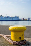 Bollard at a pier with ferry Stock Photos