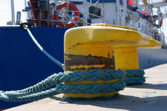 Bollard, port detail and ship stock images