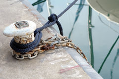 Bollard on a quay with mooring ropes Royalty Free Stock Image