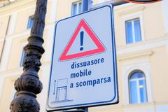 Bollard warning sign in Italian language. Bollard warning information sign in Italian language Royalty Free Stock Images