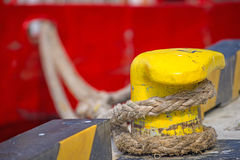Bollard With Mooring Line Of A Trawler Royalty Free Stock Photography