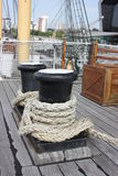 Bollards on the deck. Bollards in Glasgow's harbor near The Tall Ship Stock Image