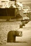 Bollards at the dock Royalty Free Stock Photos